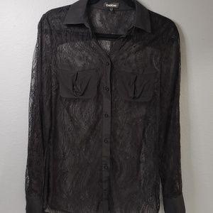Silk lace Black Blouse